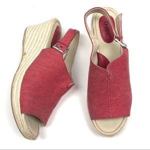 BOC B.O.C. Espadrille wedges red open toe